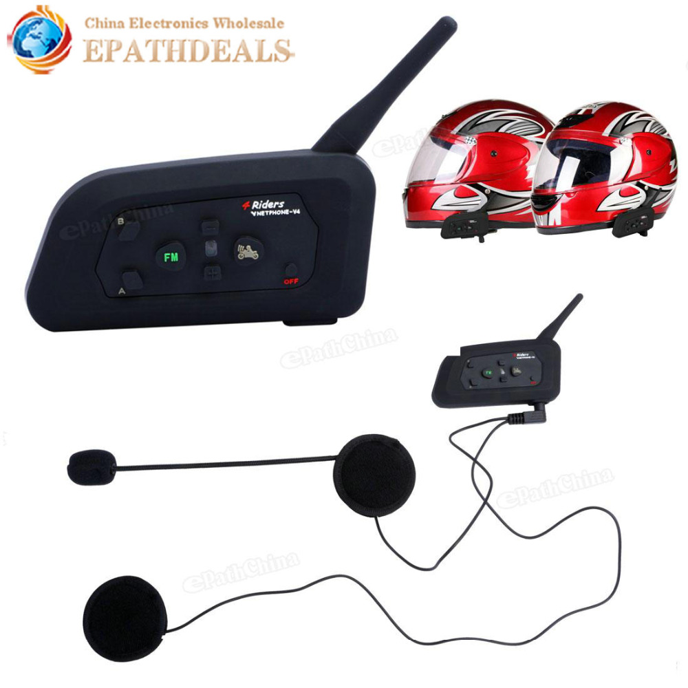 V4 BT Multi Interphone Bluetooth Intercom Waterproof FM Motorcycle Headphone Helmet Headset Communicator 4 Riders