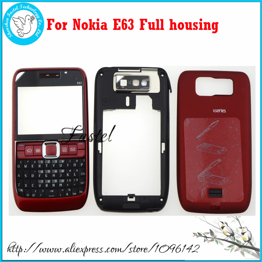 For Nokia E63 Black,Red,Blue High Quality New Full Complete Mobile Phone Housing Cover Case + Keypad + tools + Free shipping(China (Mainland))