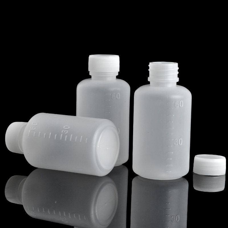 3Pieces/Lot 60 ML Travel Bottle Of Liquid PE Pill Case Small Mouth Drug Bottle With Scale(China (Mainland))