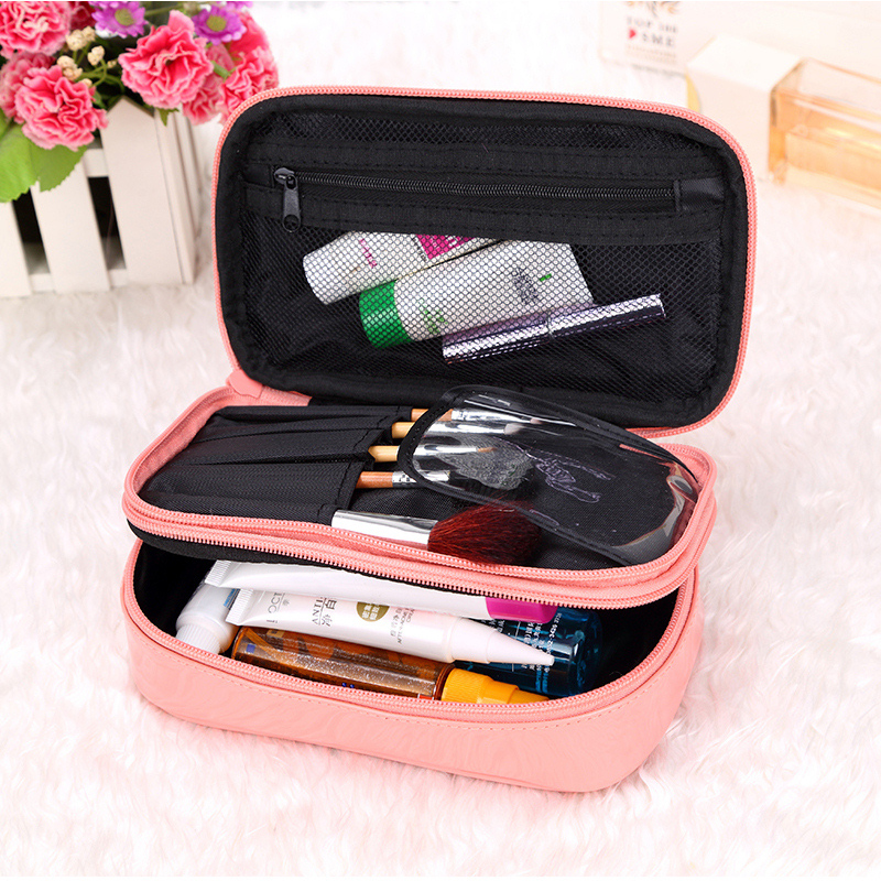 Women Travel Fashion Cosmetic Bag Storage Box Waterproof Makeup Bag Lady Wash Bag Large Double Capacity Lovely Toiletry Bag(China (Mainland))
