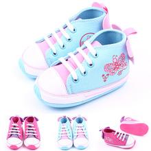 2015 heiße neue Mode Baby Mädchen Leinwand Turnschuhe Schmetterling Druck Applique Kinder Kinder Schuhe rutschfeste Baby Kleinkind Schuh(China (Mainland))