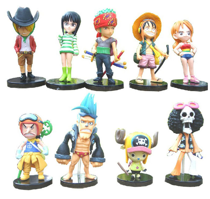 One Piece Mini Action Figures The Straw Hats Luffy/Roronoa/Zoro/Sanji/Chopper Figure Toys 9pcs/set(China (Mainland))
