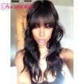 High Ponytail Full Lace wig with Bangs Brazilian virgin human hair wig 150 density Glueless Silk