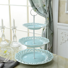 Stainless Steel 3 Layer Fruit Plate Cake Stand Afternoon Tea Dessert Dish Candy Plates Porcelain Hollow Out(China (Mainland))