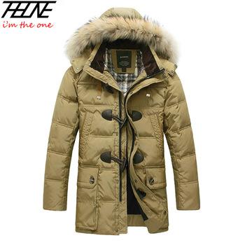 Новинка 2014 года. Зимняя мужская куртка на утином пуху (90%). Длинное утепленное пальто с капюшоном, натуральный мех. Большие размеры. 4XL