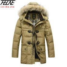 2013 BRAND Down Jacket Winter Jacket Men Coat 90% White Duck Long Thicken Outwear Hooded Real  Fur Men's Parka Big Size 4XL