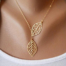2015 Hot Fashion Gold Silver Plated Chain Necklace Leaf Casual Beads Long Strip Pendants Gifts Women
