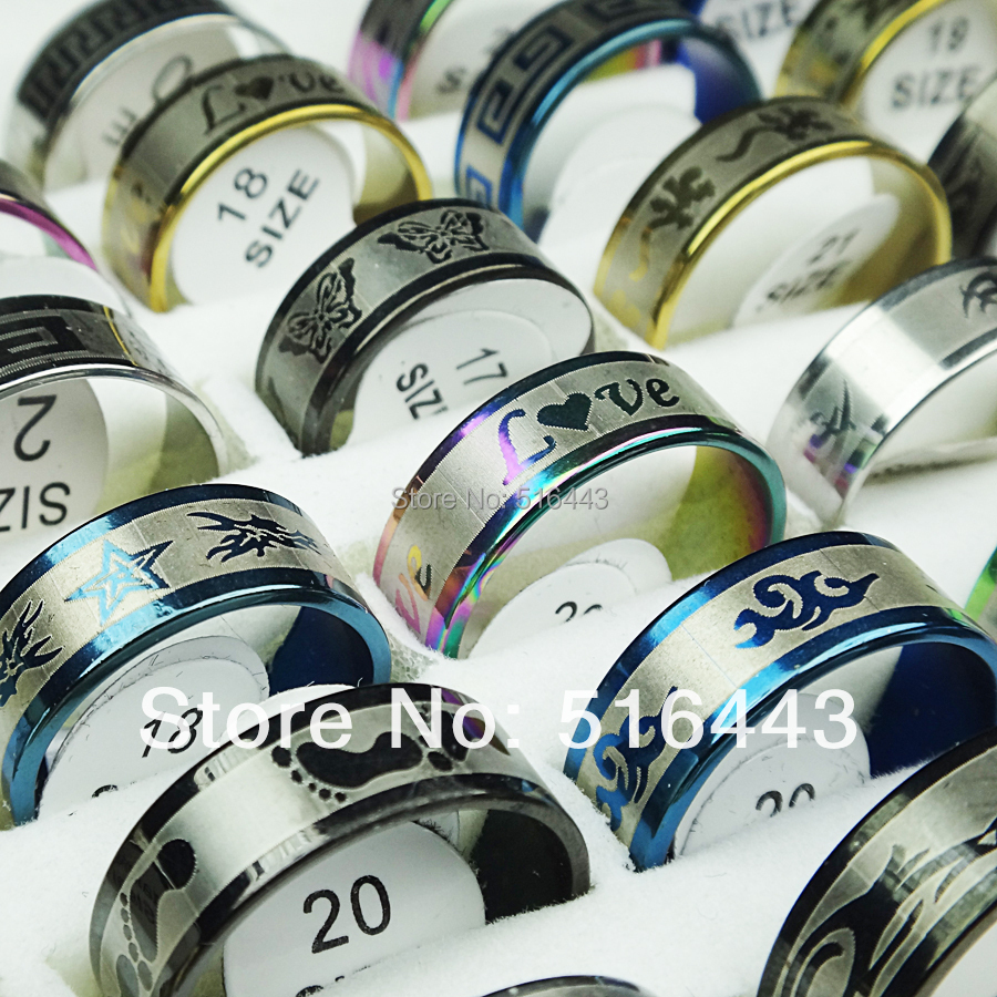 Hot Sale 100pcs 316L Stainless steel Mix Color Women Mens Rings Wholesale Jewelry Lots A-044<br><br>Aliexpress