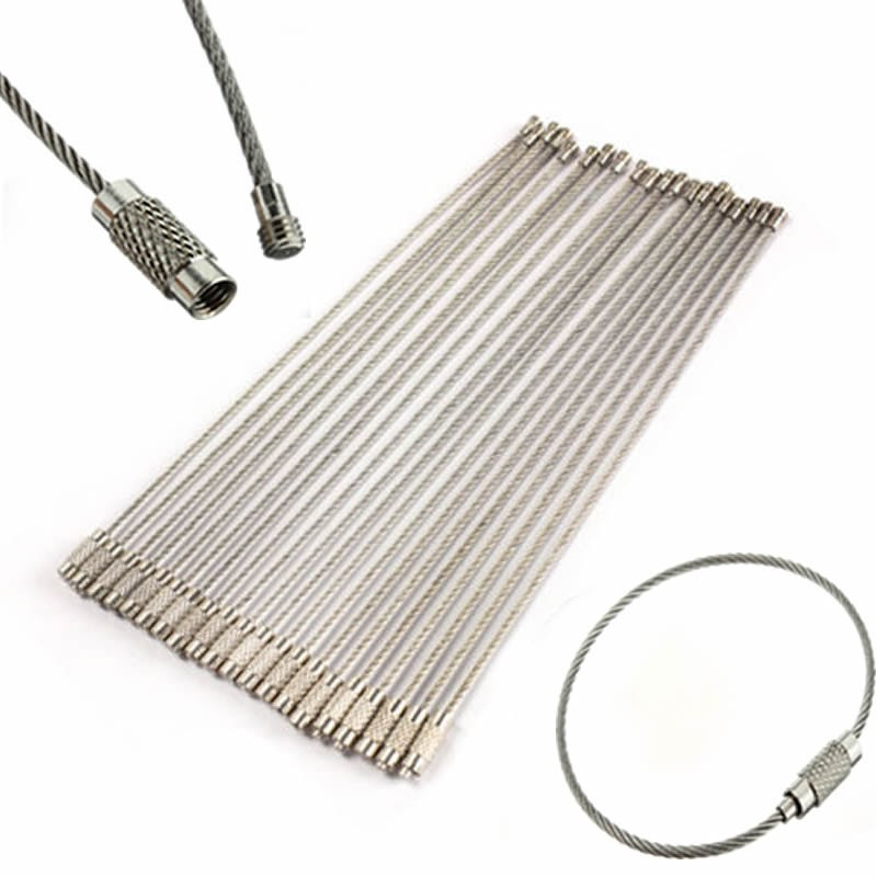 Best Price 10PCS Stainless Steel Wire Keychain Cable Key Ring for Outdoor Hiking Popular(China (Mainland))