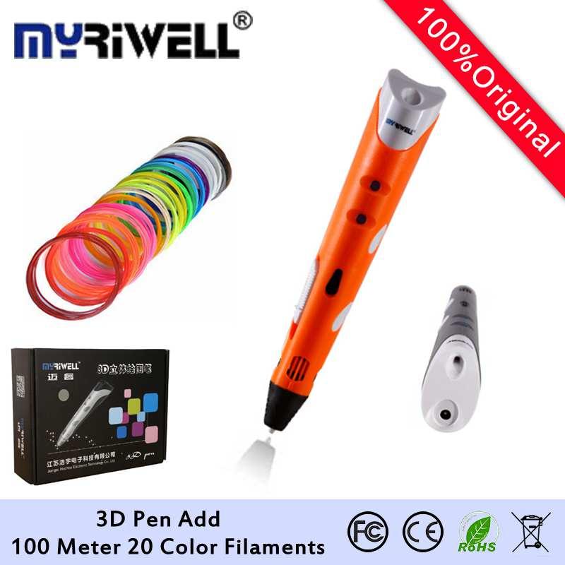 Original 3D Printing Pen EU AU Plug 3D Pen Drawing Pen 3D +100M 20Color Filament +Adapter Creative Gift For Kids Design Painting