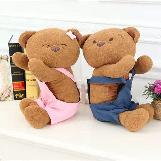Big Size 1pc 40cm Teddy Bear Plush Toys In Suspender Trousers Soft Stuffed Animals Ted Bear Dolls For Baby Kids Birthday Gifts(China (Mainland))