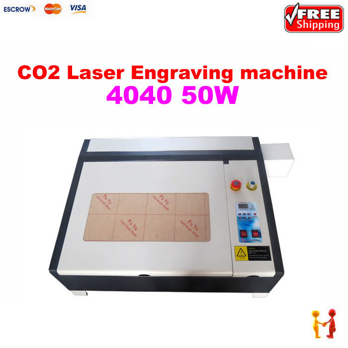 Free shipping,Newest 2016 Laser engraver cutter machine 4040 with 50W CO2 laser tube, equips with honey comb and Rotary axis(China (Mainland))