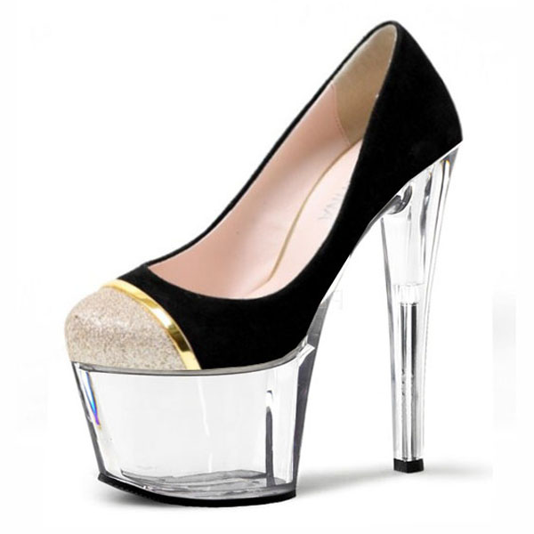 Single Shoes Super-Elevation 17cm Women's High-Heeled Shoes Platform Shoes 7 Inch High Heels Crystal women's pumps(China (Mainland))