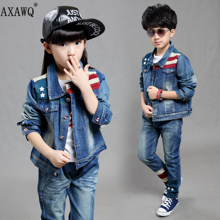Free Shopping Kids Clothes 2016 Boys And Girls Fall New Denim 3 Piece Sets Big Virgin Child Cowboy Jackets+Pants + Shirt Suit(China (Mainland))