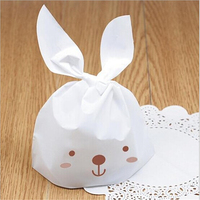 Casamento 100pcs/lot White Lovely Rabbit Plastic Handle Bags For Biscuits Snack Candy Box Baking Package Wedding Favor Boxes