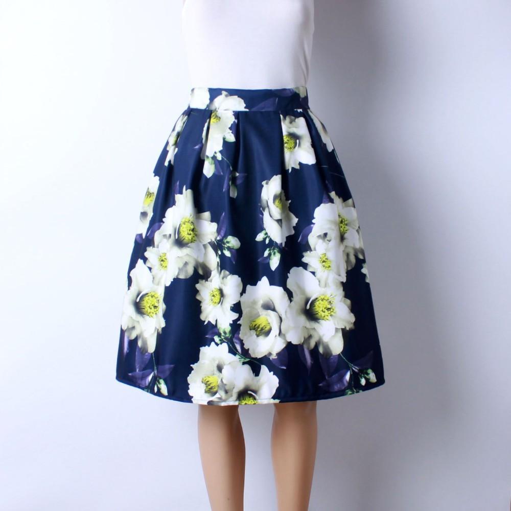 HTB1.Qw4LVXXXXc XVXXq6xXFXXXm - GOKIC 2017 Summer Women Vintage Retro Satin Floral Pleated Skirts Audrey Hepburn Style High Waist A-Line tutu Midi Skirt
