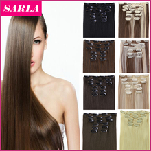 """21 Colors 150g 22"""" 7pcs/set Synthetic Clip In Hair Extensions Heat Resistant Hairpiece Long Straight Natural Hair Extension 777(China (Mainland))"""