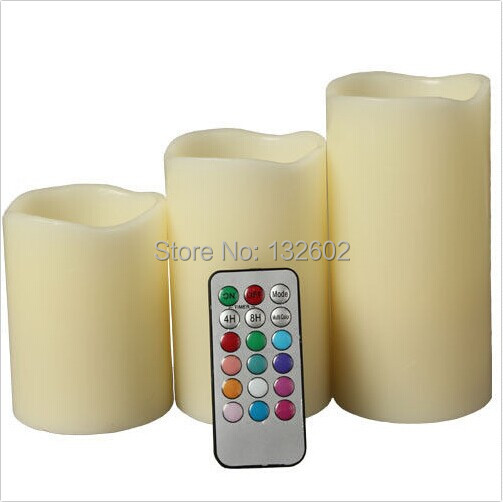 """LED Lvory Color Flameless Candles With Remote - Set of 3 (4"""" 5"""" 6"""") Free Shipping(China (Mainland))"""