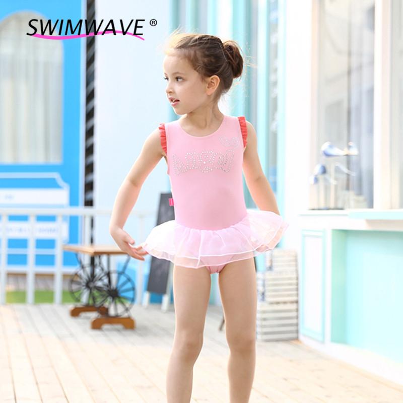 2016 Girls Sweet Lace Pink Princess Dress Angel Wings Kids Children Dancing Dress Skirt One-piece Swimsuit+Cap Summer Swimwear(China (Mainland))
