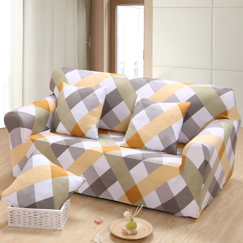 plaid Full sofa covers/couch cover 3 Seat Sofa Cover Spandex Elastic Couch Case Seat Slipcover Plaid/Stripes/Floral/Leaves(China (Mainland))