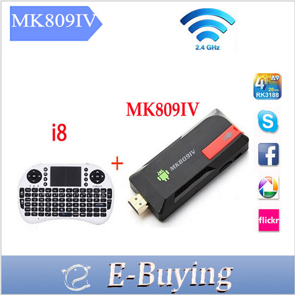 mk809iv Quad Core RK3188 Android 4.4.2 TV stick 2G/8G Wifi Google mini pc 1080p HDMI Media TV Player + Wireless keyboard i8(China (Mainland))