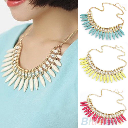 Women Fashion Fringe Drop Retro Lovely Occident Style Turquoise Crystal Exquisite Tassel Necklace 01CA(China (Mainland))