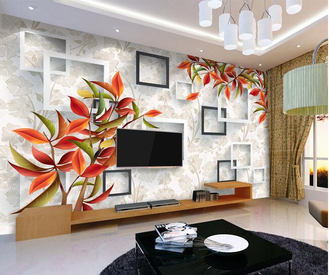 Custom 3d floral wallpaper beautiful warm elegant red for Floral wallpaper living room