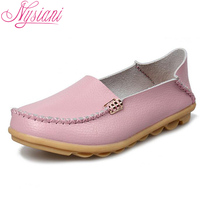 Nysiani 2016 Women Leather Casual Shoes Moccasins Mother Loafers Soft Sole Flat Female Driving Casual Footwear Big Size 16 Color