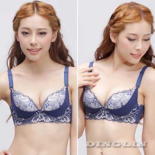 Pretty Sexy Women Lady Push Up Lace Floral Print Strap Bra Soutien Gorge Underwire Plunge Underwear Brassiere 34 36 38 A B 5023(China (Mainland))