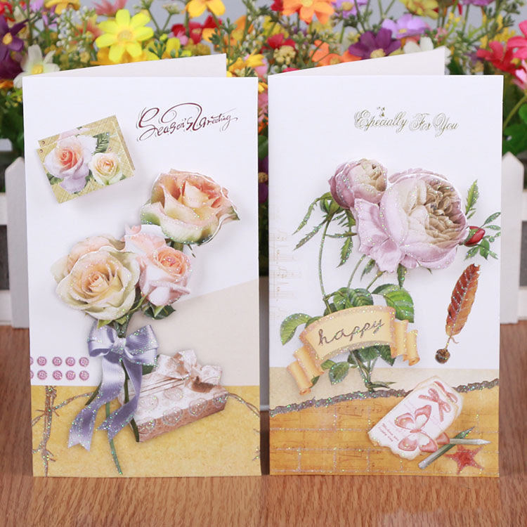 Free ship!1lot=24pc!Flash gold romantic flower stereo message card / birthday card/greeting festival paper cards(China (Mainland))