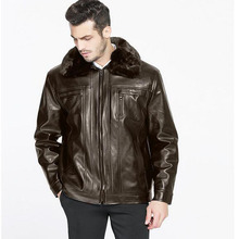 New Arrival Top Quality Winter Single Breasted Hooded Leather Jacket Men Trench Coat Mens Leather Jackets And Coats(China (Mainland))