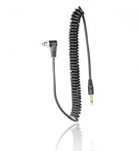 FotoTech 3.5 mm to Male Flash PC Sync Cable for 14-Inch Coiled Cord with Screw Lock(China (Mainland))