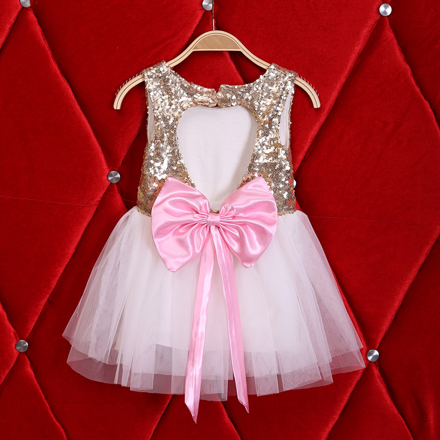 New Girls Gold Heart Sequin Tutu Dress with Pink Ribbon
