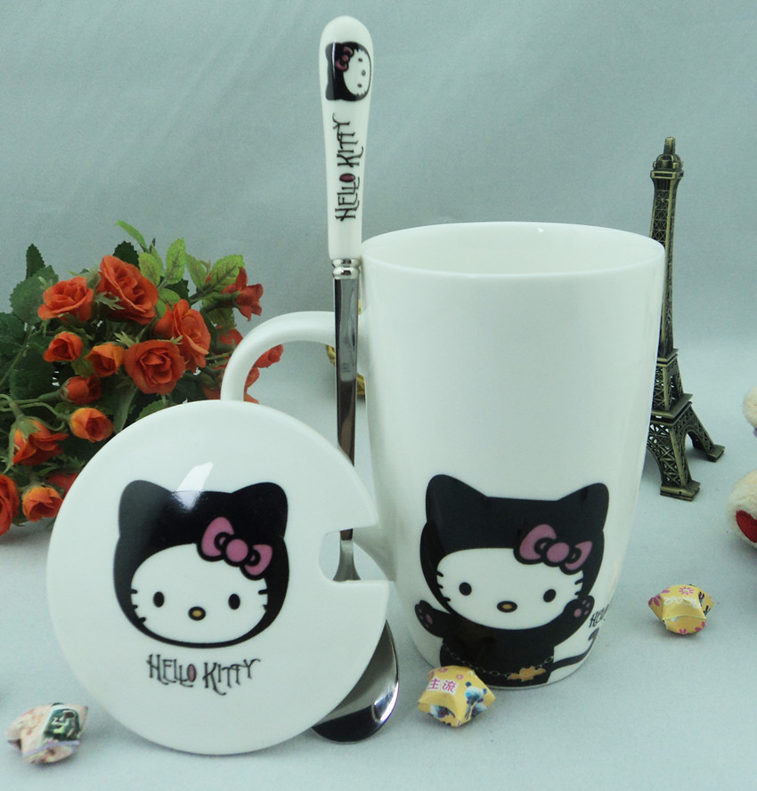 Cute hello kitty cup ceramic cup breakfast mug cup lovers cup spoonfuls belt with lid cover(China (Mainland))