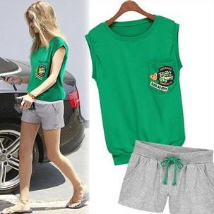 Summer Hot Selling,,Brand Splice Color Cotton Hoodie Set,Pockets Sports Sweatshirt Set,2 Colors,M/L - Cow's love store