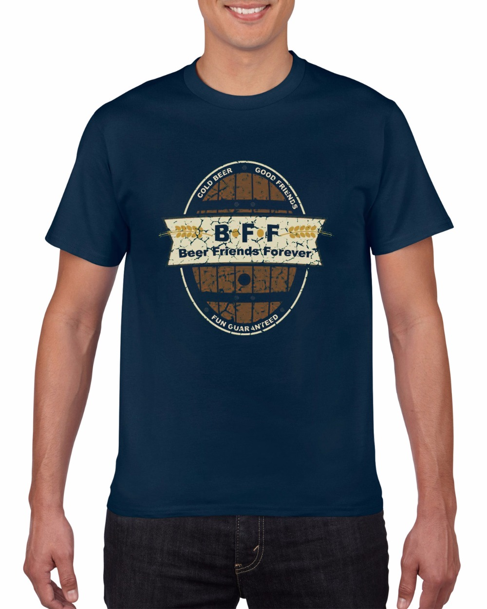 Design your own t-shirt long sleeve - New Fashion Man S Short Sleeve Funny Tees Man Short Beer Friends Forever Design Your Own T