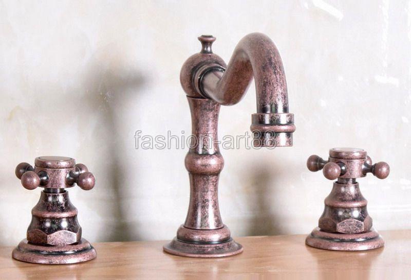 Vintage Retro Roman Red Antique Copper 2 Cross Handles Widespread 3 Holes Bathroom Vessel Sink Faucet