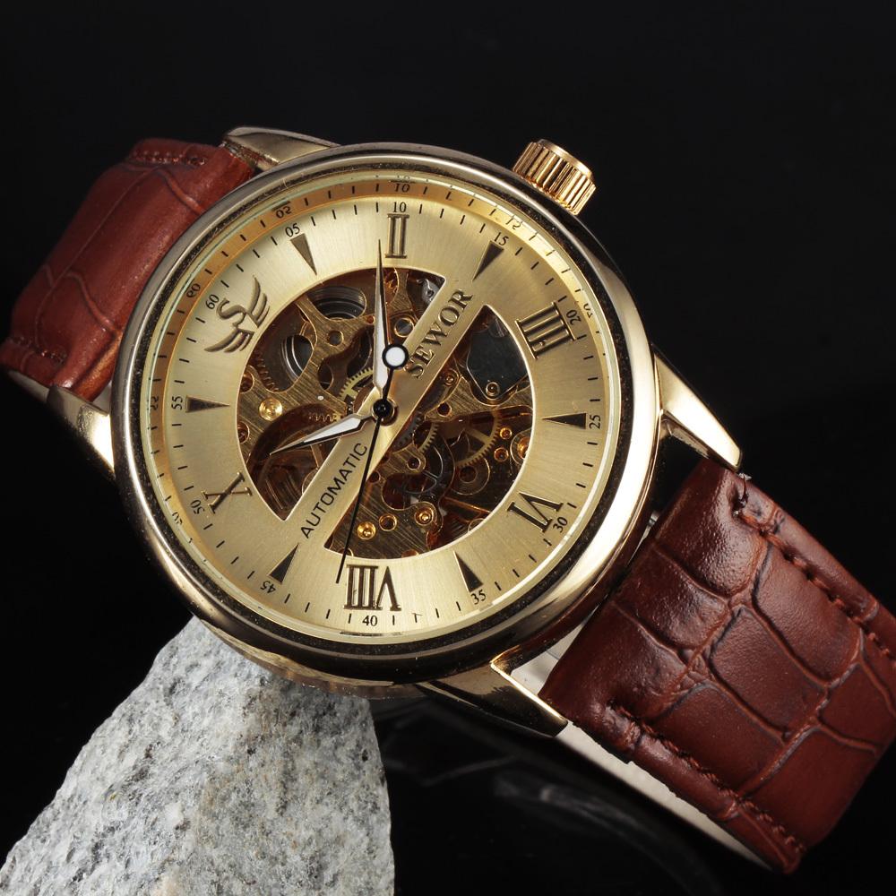 Свободного покроя мода мужские часы мужчины люксовый бренд скелет циферблат кожаный ремешок механические часы урожай Reloj платье Relogio Masculino