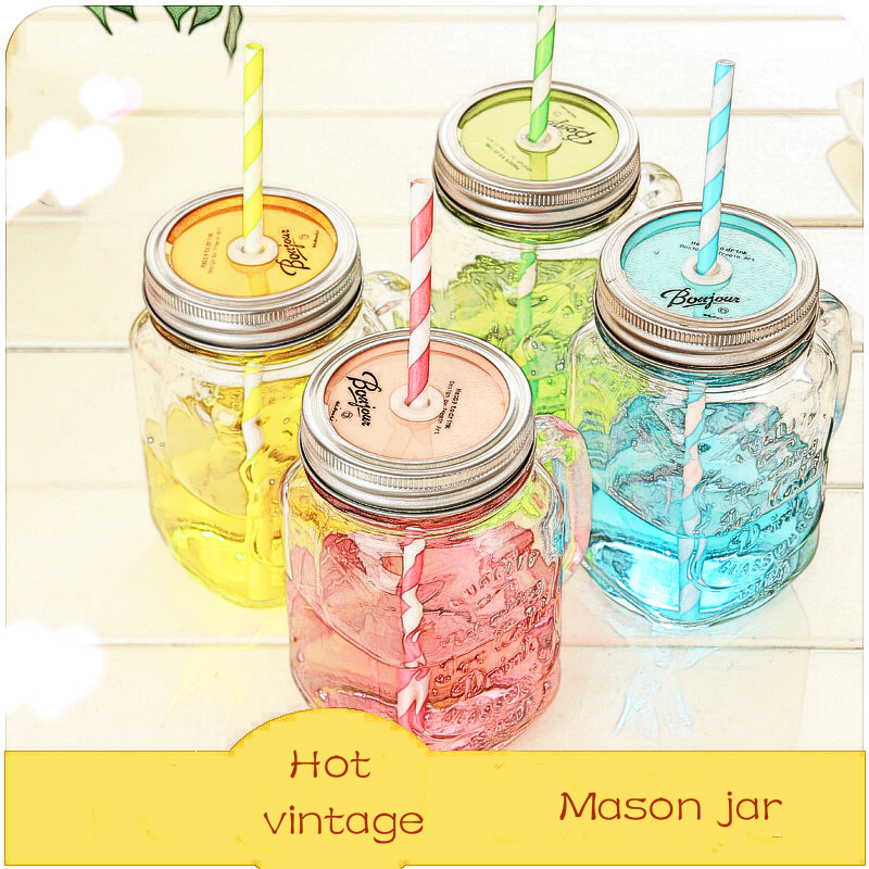 Vintage Glass Mason Jar Cup Fruit Icecream Infusion Clear Gradients Personality Four Style Cold Drink Cups(China (Mainland))