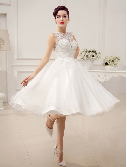 Lace Reception Dresses For Bride - High Cut Wedding Dresses