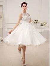Elegant Satin and Lace Tea Length Wedding Dress