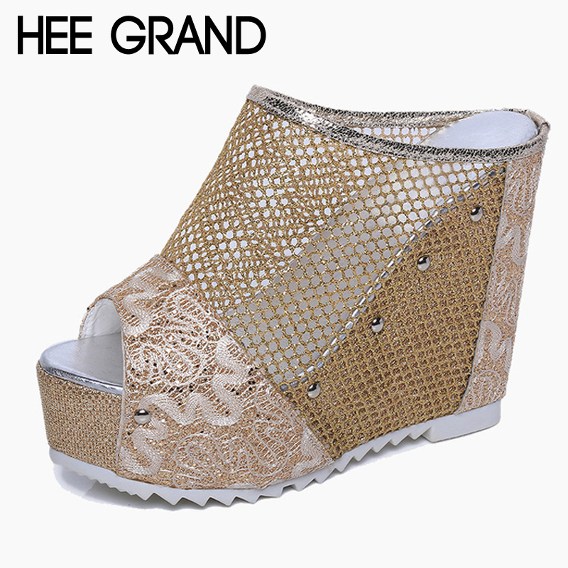 HEE GRAND Mesh Wedges Sandals Summer Gladiator Platform Shoes Woman Slip Creepers Slippers Gold Silver Slides XWZ2604  -  Fancy Women's Heels store