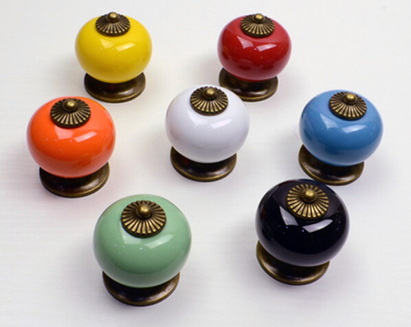 10pcs/lot Ceramic Handle Cabinet Door Pull Black Knobs Drawer Locker Cupboard Vintage Retro Gold<br><br>Aliexpress