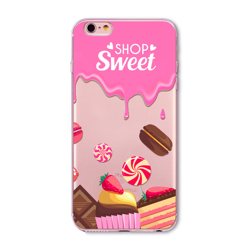 Sweet Food Pattern Printed Phone Case For iPhone 6 6s Plus Soft Slim Transparent Rubber Clear TPU Cases Donuts Macaron Coque