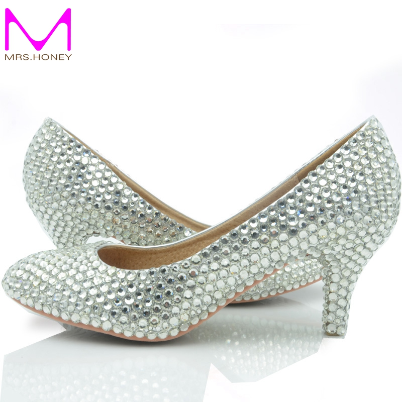 Middle Heel Silver Color Wedding Shoes Glitter Women Comfortable Party Prom Shoes Plus Size 43 in Stock Bridesmaid Shoes(China (Mainland))