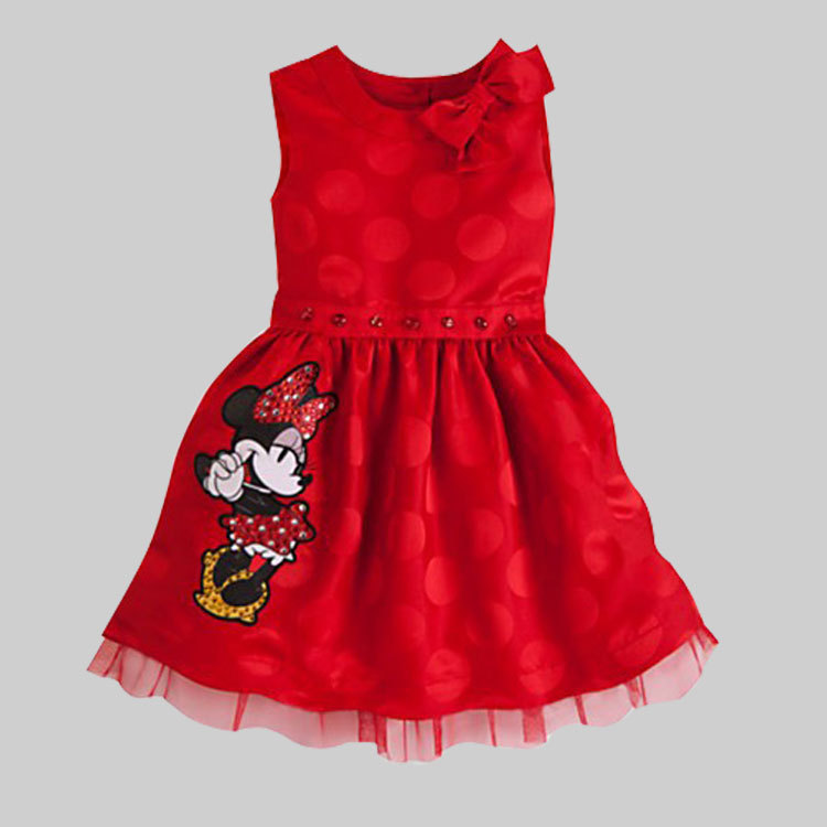New 2015 Summer Girls Minnie Mouse Bow DressGirls Princess Gown Ball Lace Party Dresses Children Clothing Baby Kids Cute Clothes(China (Mainland))