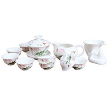 on sale Lotus Pond Fun Jade Porcelain Tea Set Suit Kung Fu Teaset 14 Pcs   free shipping