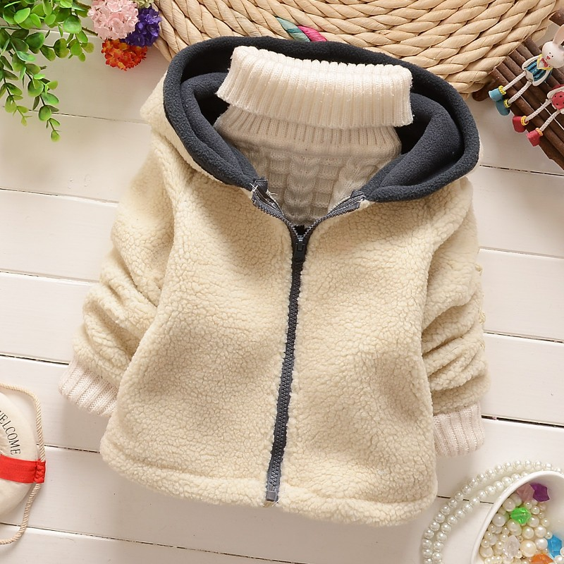 2016 new auntumn winter children solid color outerwear baby girls warm jackets kid thick coats Children'S Hooded Outerwear(China (Mainland))