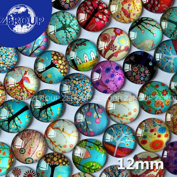 Гаджет  50pcs/lot 12mm HOT DIY Glass Cabochons Tree Branch Pattern Flat Back Round Mixed Color Cabochon Fashion Jewelry Component None Ювелирные изделия и часы