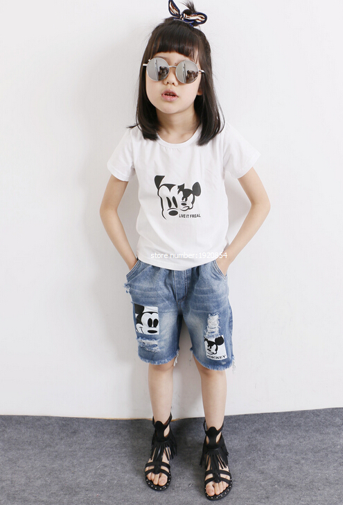 BOys girls suits 2016 summer girls cartoon T-shirt smiling face air conditioning suit + cartoon cowboy pants suit XH1954(China (Mainland))